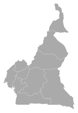 cameroon: Map of Cameroon with the provinces. Illustration