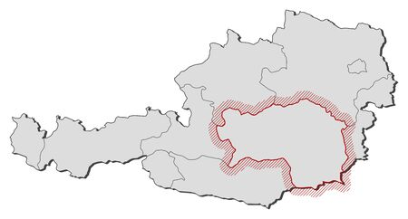steiermark: Map of Austria with the provinces, Styria is highlighted by a hatching.