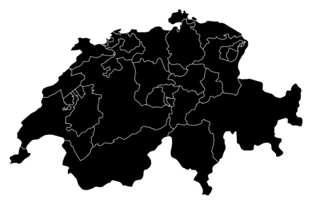 swizerland: Map of Swizerland in black with the provinces.