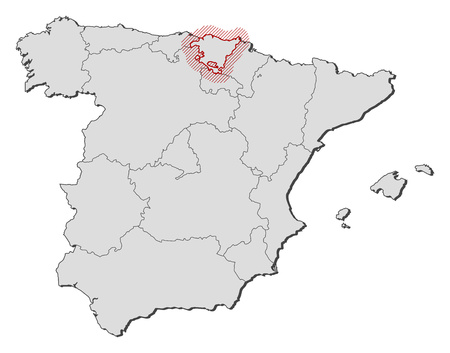 hatching: Map of Spain with the provinces, Basque Country is highlighted by a hatching. Illustration