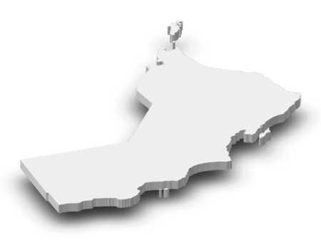 frontiers: Map of Oman as a gray piece with shadow.