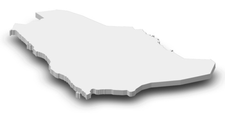 frontiers: Map of Saudi Arabia as a gray piece with shadow.
