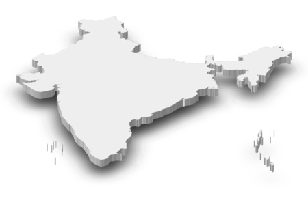 Map of India as a gray piece with shadow. Фото со стока