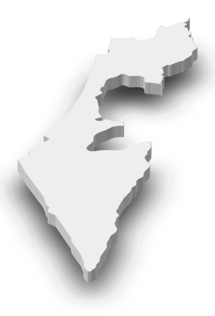 western asia: Map of Israel as a gray piece with shadow. Stock Photo