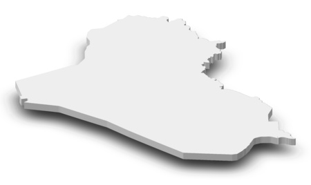 southwest asia: Map of Iraq as a gray piece with shadow. Stock Photo