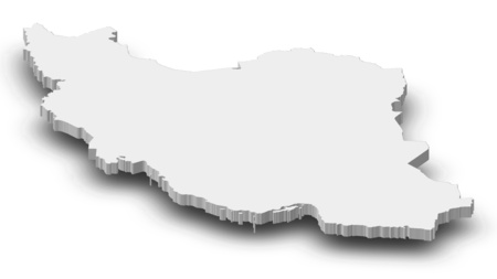 west asia: Map of Iran as a gray piece with shadow. Stock Photo