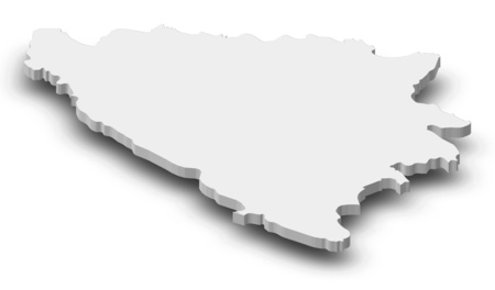 bosna and herzegovina: Map of Bosnia and Herzegovina as a gray piece with shadow. Stock Photo
