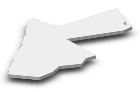southwest asia: Map of Jordan as a gray piece with shadow. Stock Photo
