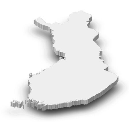 Map of Finland as a gray piece with shadow.