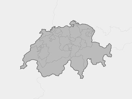 frontier: Map of Swizerland and nearby countries, Swizerland is highlighted in gray. Illustration