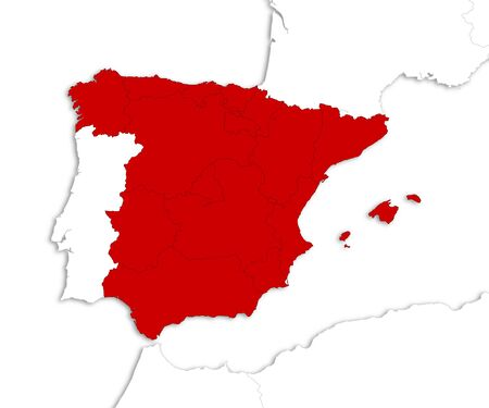 shady: Map of Spain with the provinces and nearby countries as a white area over its shadow.