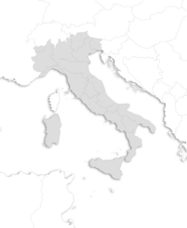Map of Italy with the provinces and nearby countries as a white area over its shadow. Illustration