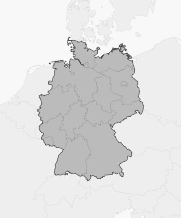 Map of Germany and nearby countries, Germany is highlighted in gray.