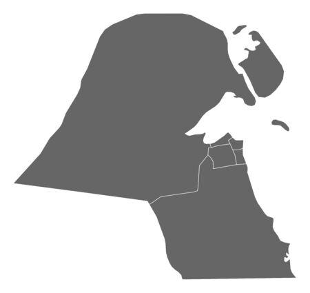 southwest asia: Map of Kuwait as a dark area. Illustration