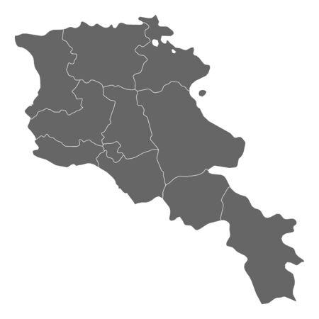 Map of Armenia as a dark area.