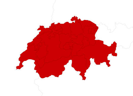 schweiz: Map of Swizerland with the provinces and nearby countries as a white area over its shadow.