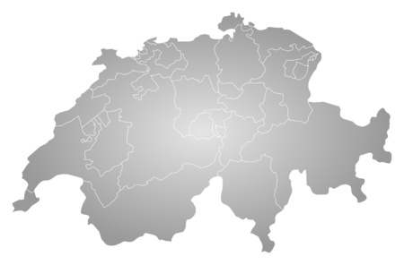 schweiz: Map of Swizerland, filled with a radial gradient.