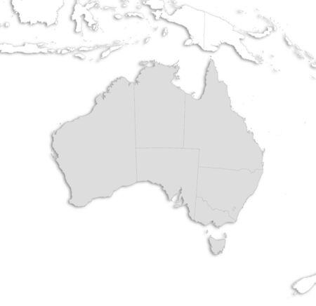 frontiers: Map of Australia with the provinces and nearby countries as a white area over its shadow.