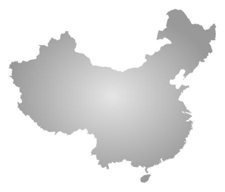 prc: Map of China, filled with a radial gradient. Illustration