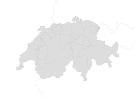 swizerland: Map of Swizerland with the provinces and nearby countries as a white area over its shadow.