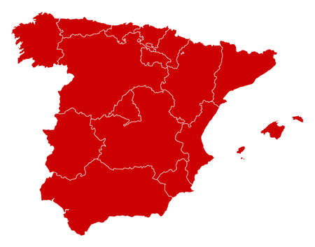 Map of Spain in black with the provinces. Illustration