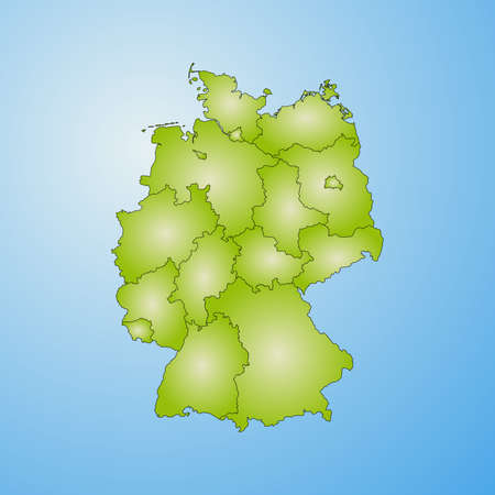 Map of Germany with the provinces, filled with a radial gradient.