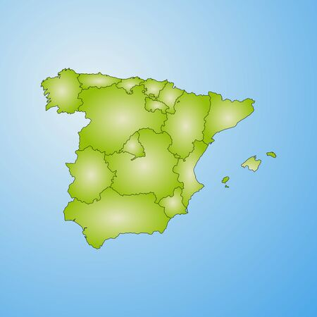 Map of Spain with the provinces, filled with a radial gradient.