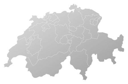 schweiz: Map of Swizerland, filled with a linear gradient.