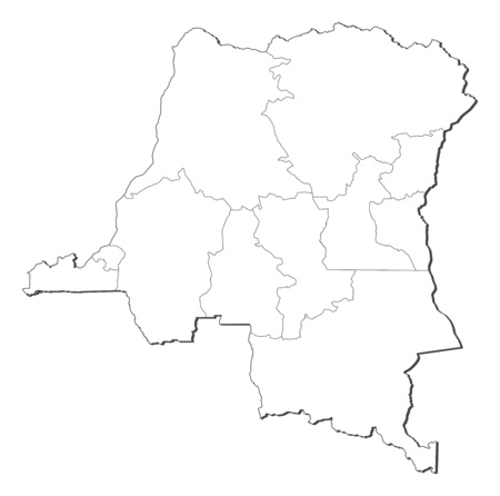 zaire: Map of Democratic Republic of the Congo, contous as a black line.