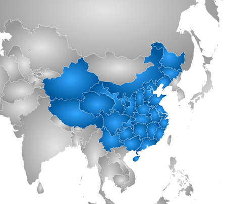 frontiers: Map of China with the provinces and nearby countries, filled with a radial gradient.