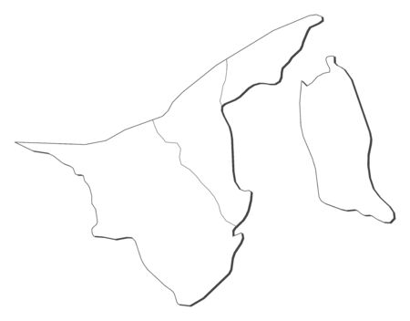 map of brunei: Map of Brunei, contous as a black line.