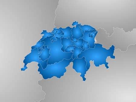 schweiz: Map of Swizerland with the provinces and nearby countries, filled with a radial gradient. Illustration