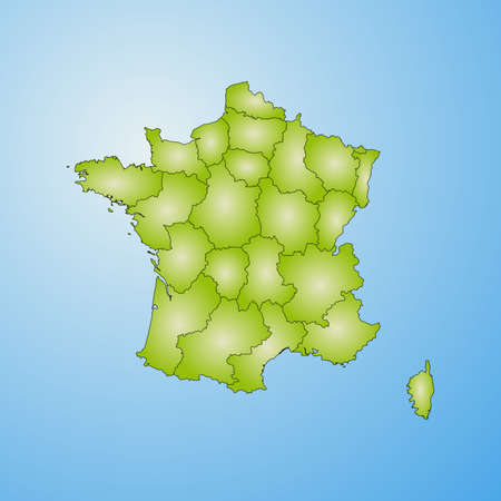 Map of France with the provinces, filled with a radial gradient. Illustration