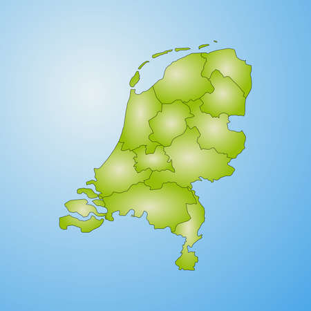 Map of Netherlands with the provinces, filled with a radial gradient. Illustration