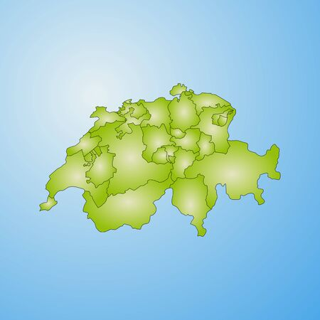 Map of Swizerland with the provinces, filled with a radial gradient. Illustration