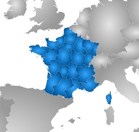 tone shading: Map of France with the provinces and nearby countries, filled with a radial gradient.