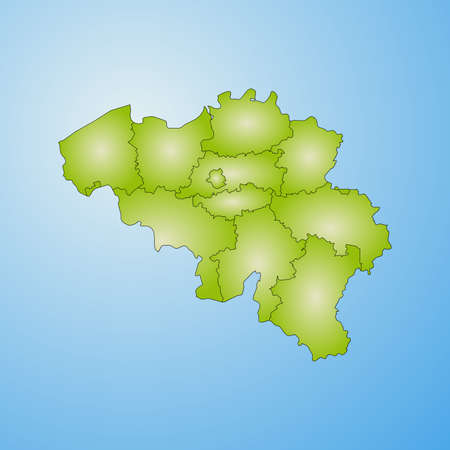Map of Belgium with the provinces, filled with a radial gradient. Illustration