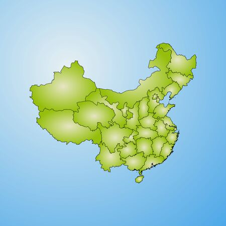 Map of China with the provinces, filled with a radial gradient.