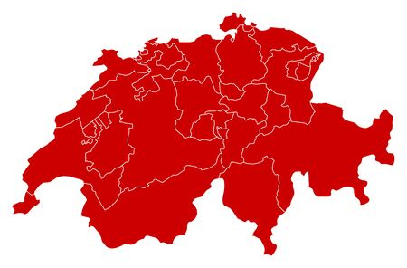 Kaart van Swizerland in zwart met de provincies.