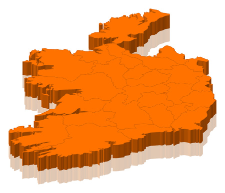subdivisions: Map of Ireland as an orange piece. Stock Photo