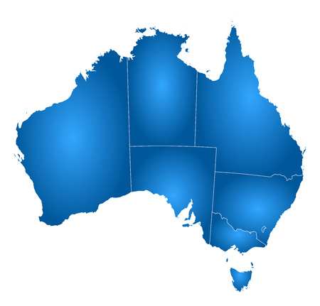 tone shading: Map of Australia with the provinces, filled with a radial gradient.