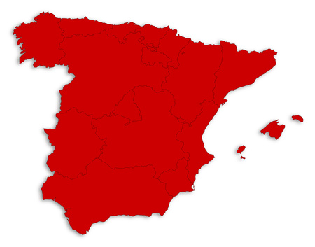 Map of Spain as a white area over its shadow.