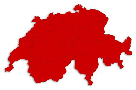 area: Map of Swizerland as a white area over its shadow.