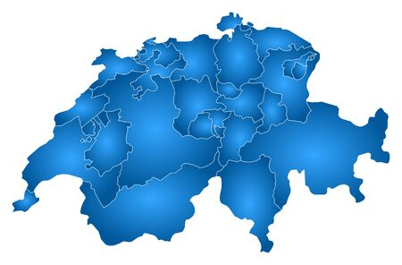 schweiz: Map of Swizerland with the provinces, filled with a radial gradient. Illustration