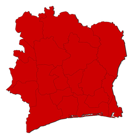 Map of Ivory Coast with the provinces, colored in red.