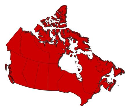 frontiers: Map of Canada with the provinces, colored in red.