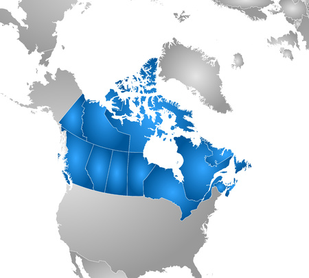 tone shading: Map of Canada with the provinces and nearby countries, filled with a radial gradient. Illustration
