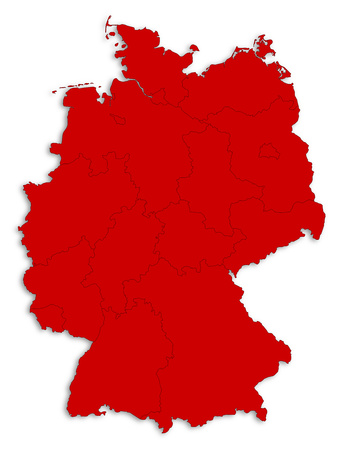 Map of Germany as a white area over its shadow.