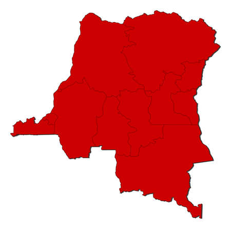 zaire: Map of Democratic Republic of the Congo with the provinces, colored in red.