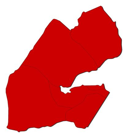 Map of Djibouti with the provinces, colored in red.